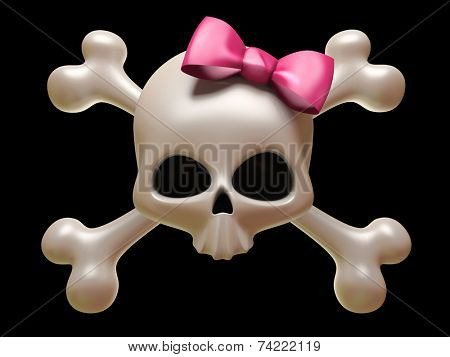 Skull with pink bow isolated on black background