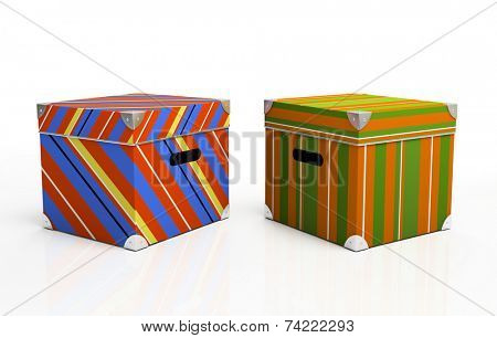 Multicolored cardboard boxes isolated on background 3D