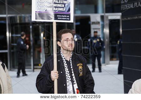 Teamster member with sign