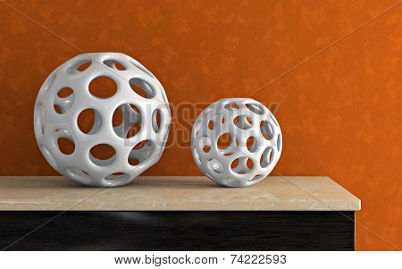 Accessories and orange wall 3D rendering