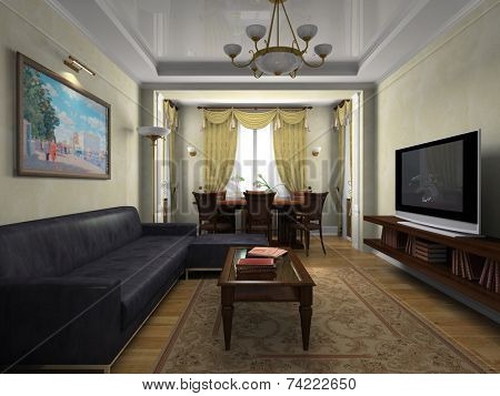 View on the interior in classical style 3D rendering
