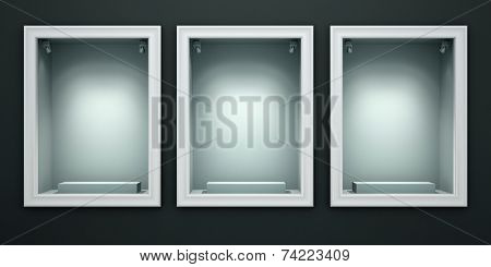 Three empty showcases of the shop illustration