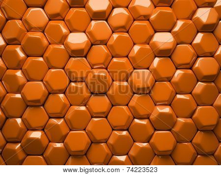 Abstract pattern of hexahedron orange pieces illustration