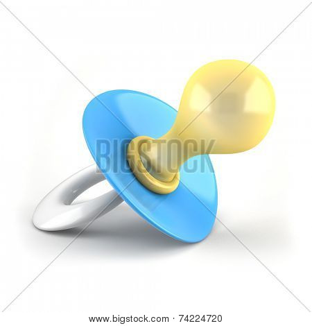 Blue baby`s pacifier isolated on white background 3D