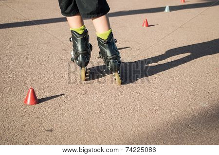 Practicing Skating With Cones