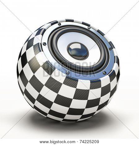Blak and white spher speaker 3D