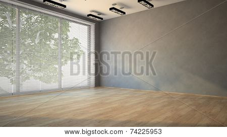 Empty room with parquet floor 3D
