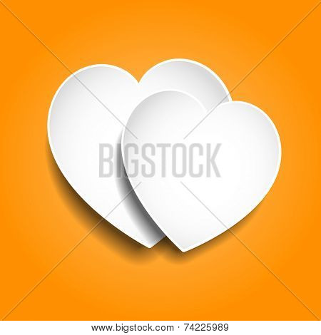 Two paper hearts on orange background 3D
