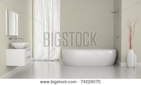 Interior of modern bathroom with the window 3D