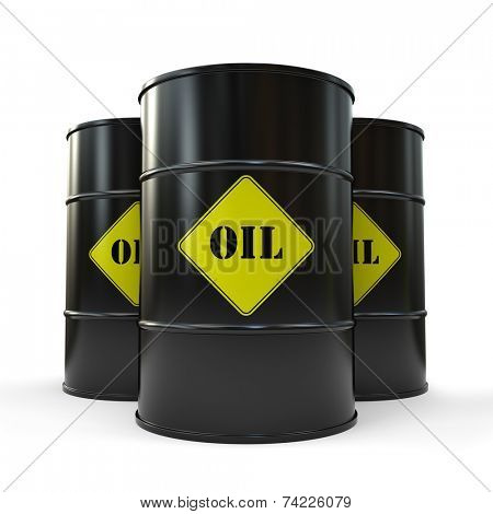 Three Black oil barrels isolated on white background