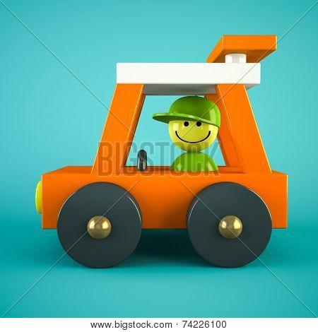 Orange toy car isolated on blue background