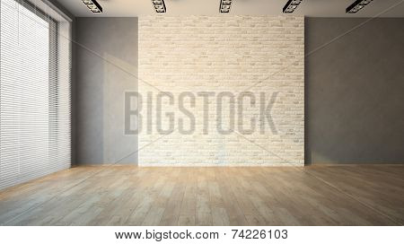 Empty room with brick wall and jalousie