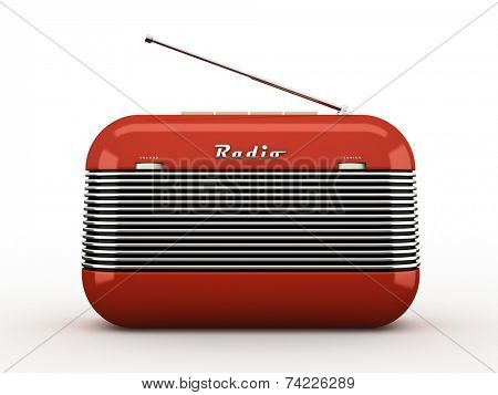 Old red vintage retro style radio isolated on white background