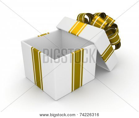 Open white gift box with gold bow isolated on white background