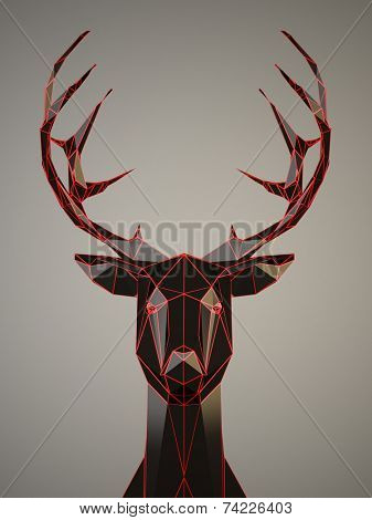 Black Deer head with a red edges on gray background
