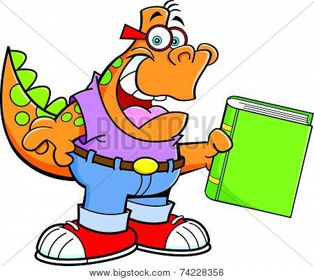 Cartoon Dinosaur Holding a Book