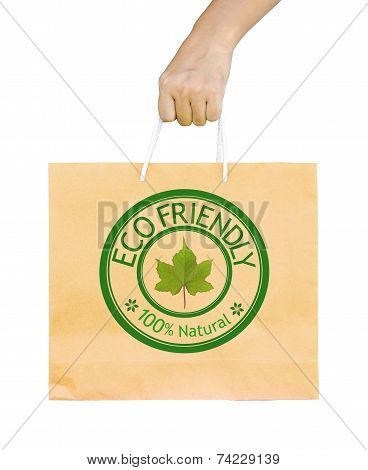 Man Holding A Shopping Recycle Bag.
