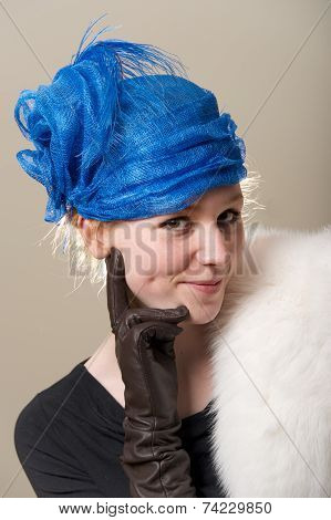 Cheeky Redhead In Hat With Leather Glove