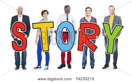 DIverse People Holding Text Story