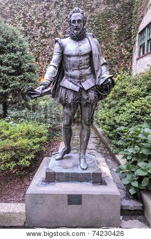 Miguel De Cervantes Statue, New York City