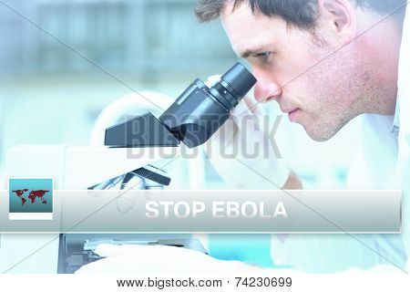 Digital composite of Ebola news flash with medical imagery