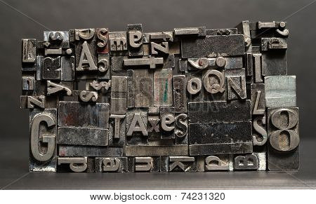 Metal Type Printing Press Typeset Taxes Typography Text Letters Sign