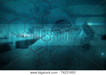 Chemist working cautiously with liquid and futuristic interface showing formula against ecg line in blue and black