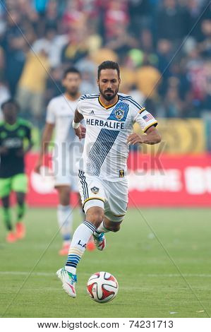 CARSON, CA - OCT 19: Marcelo Sarvas in action during the Los Angeles Galaxy MLS game against the Seattle Sounders on October 19th 2014 at the StubHub Center.