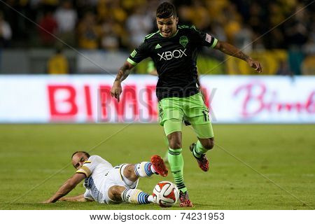 CARSON, CA - OCT 19: Landon Donovan and DeAndre Yedlin (R) in action during the Los Angeles Galaxy MLS game against the Seattle Sounders on October 19th 2014 at the StubHub Center.