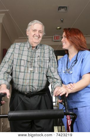 Senior With Nurse