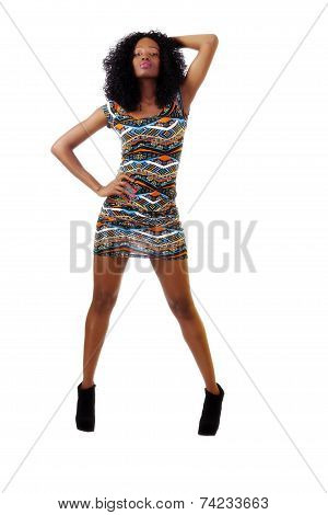 Young Teen Black Girl Short Dress Standing