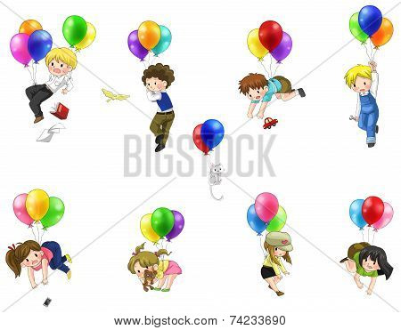 Cute Cartoon People And Chidren Floating In The Sky With Balloons Icon Set