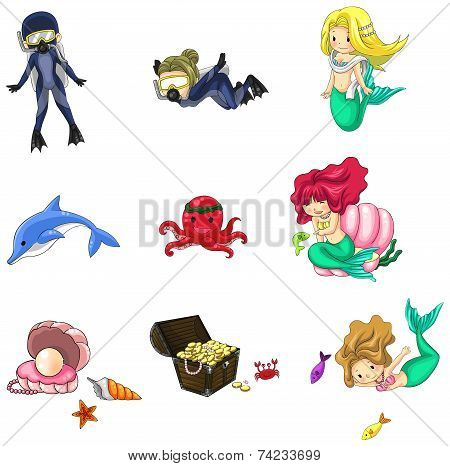 Underwater Cartoon Characters And Objects Collection Icon Set (vector)