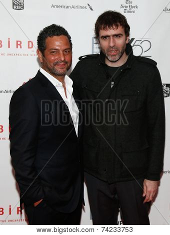 NEW YORK-OCT 11: Writers Alexander Dinelaris (L) & Nicolas Giacobone attend 'Birdman Or The Unexpected Virtue Of Ignorance' premiere at the New York Film Festival on October 11, 2014 in New York City.