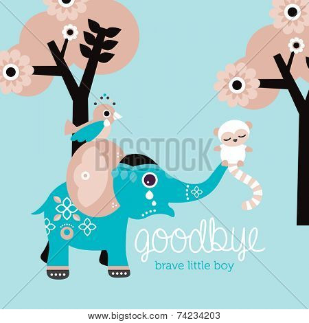 Goodbye little boy condolences after death baby son postcard cover design in vector