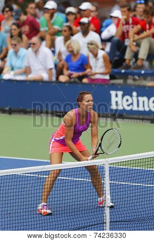 Professional tennis player Jelena Jankovic during second round doubles match at US Open 2014