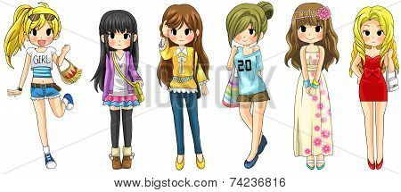 Modern Girl Fashion Cartoon Collection Set 1 (vector)
