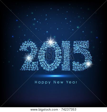 Happy New Year 2015 celebrations greeting card design with shiny text on blue background.