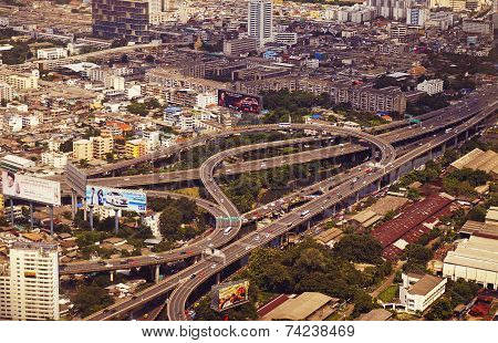 Panoramic View To The Bangkok And The Traffic Multilevel Crossing
