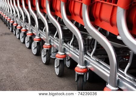 Metal Parts Of Red Baskets-carts For Goods