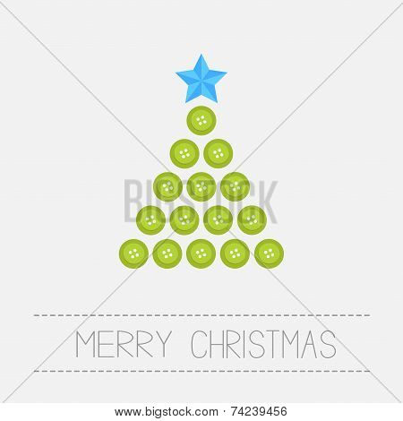 Christmas Triangle Tree From Green Buttons. Merry Christmas Card. Isolated Flat Design