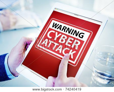Hands Holding Digital Tablet Cyber Attack