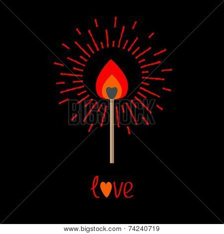 Burning Love Match With Red And Orange Fire Light Shining Sunlight Effect. Flat Design Style.