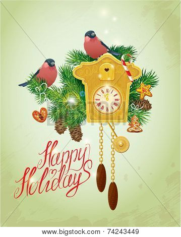 Card With Vintage Wooden Cuckoo Clock,  Xmas Gingerbread, Candy, Fir-tree Branches And Bullfinch Bir