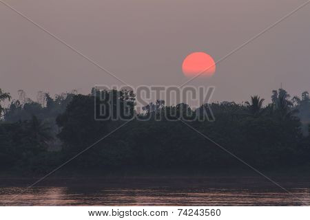 Sunset at Mekong river, Thailand