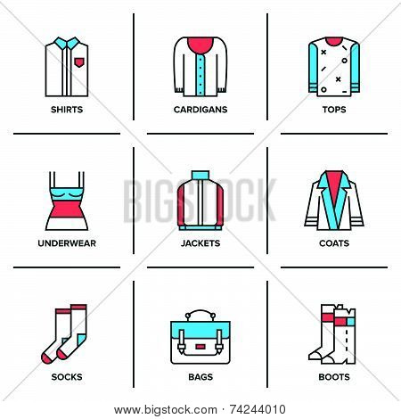 Clothing Collection Line Icons Set