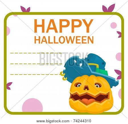 Halloween pumpkin monster hat card