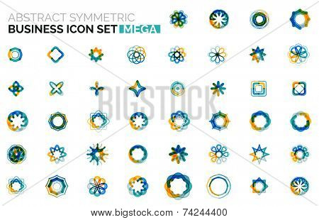 Abstract symmetric geometric shapes, business icon logo mega collection