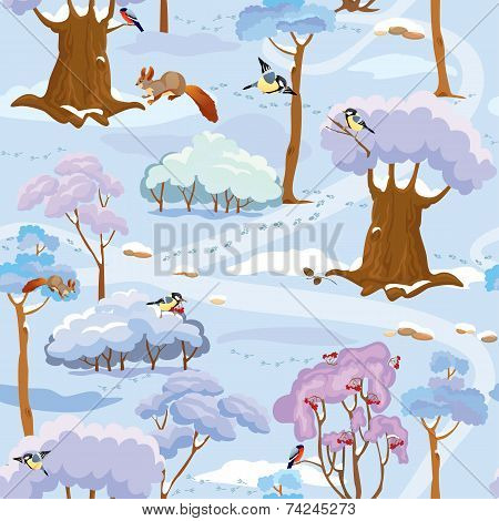 Seamless Pattern - Winter Forest Landscape With Trees, Birds And Squirrels. Ready To Use As Swatch.