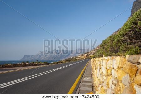 Mountain Road With Blue Sky